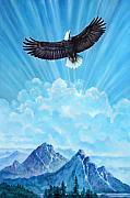 Eagle Painting Originals - Flying Free by John Lautermilch