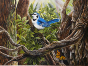 Bluejay Paintings - Flying Friends by David Paul