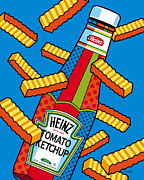 Ketchup Prints - Flying Fries Print by Ron Magnes
