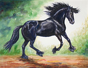 Kristine Plum Acrylic Prints - Flying Friesian Acrylic Print by Kristine Plum
