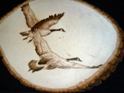 Canadian Geese Pyrography - Flying Geese by Adam Owen
