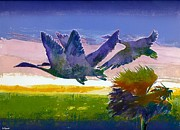 Colored Background Mixed Media - Flying Geese by Diana  Tyson