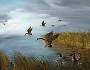 Canadian Geese Paintings - Flying Geese by Patricia  Lang