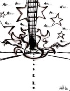 Sterling Drawings - Flying Guitar by Levi Glassrock