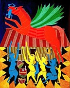Indian Tribal Art Drawings - Flying Horse Bs 48 by Bhajju Shyam