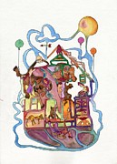 Morph Painting Prints - Flying House Print by Martin Hardy