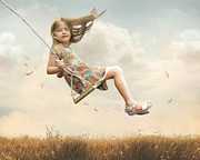 Child Swinging Art - Flying by Joel Payne