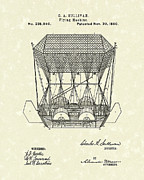 Sullivan Metal Prints - Flying Machine 1880 Patent Art Metal Print by Prior Art Design