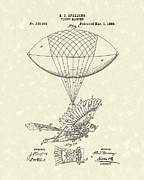 Flying Drawings Posters - Flying Machine Spalding 1889 Patent Art Poster by Prior Art Design