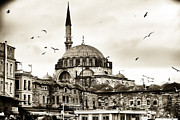 Flying Turkey Prints - Flying Over the Mosque Print by John Rizzuto
