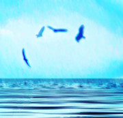 Animals Digital Art - Flying Over Water by Bill Cannon