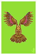 Owl Metal Prints - Flying Owl Metal Print by Nelson Garcia