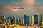 Airlines Digital Art - Flying Past Downtown by Chris Lord