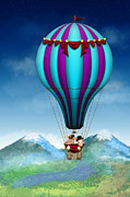 Flying Pig Prints - Flying Pig - Balloon - Up up and Away Print by Mike Savad