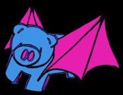 Pig Digital Art - Flying Piggy on Black by Jera Sky
