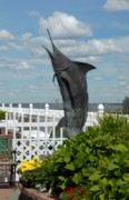 Garden Ornaments Posters - Flying Sailfish Poster by Joyce StJames