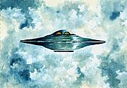 Flying Saucer Print by Michael Vigliotti