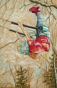 Swing Drawings - Flying So High by Christine Marek-Matejka