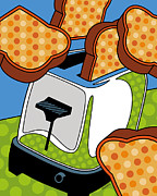 Breakfast Posters - Flying Toast Poster by Ron Magnes