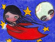 Angel Paintings - Flying with the Moon by  Abril Andrade Griffith
