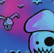 Mustaches Mixed Media Prints - Flying Zombie Mushroom Attack Print by Jera Sky