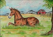 Stippling Originals - Foal In Grass by Jodi Bauter