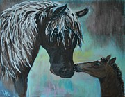 Caring Mother Painting Originals - Foal Kiss by Leslie Allen