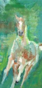 Abstract Horse Paintings - Foal  With Shades of Green by Frances Marino