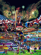 Gymnastics Paintings - Focusing On Gold by Sean OConnor