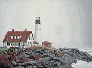New England Lighthouse Paintings - Fog Approaching Portland Head Light by Dominic White