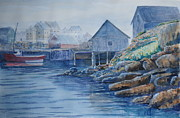 John W Walker Framed Prints - Fog at Peggys Cove Framed Print by John W Walker