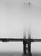 San Francisco Golden Gate Bridge Framed Prints - Fog at the Golden Gate Bridge 4 - Black and White Framed Print by Wingsdomain Art and Photography