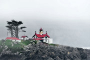 Gloomy Prints - Fog comes rolling in - Battery Point Lighthouse - Crescent City CA Print by Christine Till