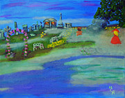 Headstones Painting Originals - Fog Covered Cemetery by Margaret Harmon