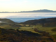 Bank; Clouds; Hills  Prints - Fog in the Valley Print by Alfredo Rodriguez
