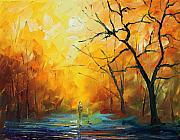 Autumn Landscape Painting Originals - Fog new by Leonid Afremov
