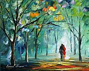City Park Painting Originals - Fog Of Love by Leonid Afremov