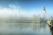Government Photo Framed Prints - Fog On Parliament Building In London Framed Print by Araminta Studio - Didier Kobi