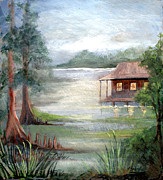 Trees Light Windows Prints - Fog on the Bayou Print by Elaine Hodges