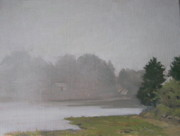 Overcast Day Painting Posters - Fog Rolls in at Salt Pond Poster by Susan Hope Fogel