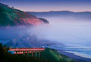 Realestate Posters - Fog Rolls In On Sunset Cliffs At Twilight At Torrey Pines Beach Poster by Susan McKenzie