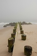 Pilings Photos - Fog Sits On Bay Head Beach - Jersey Shore by Angie McKenzie