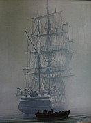Masted Ship Paintings - Fogbound by George E Lee