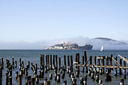 Alcatraz Prints - Foggy Alcatraz Print by Denise Pohl