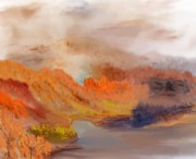 Digital Paintings Landscapes - Foggy Autumnal Dream by David Lane