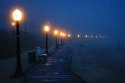 Morning Lights Framed Prints - Foggy Boardwalk Blues Framed Print by Bill Pevlor