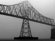 Monochrome Prints - Foggy Bridge Print by Aaron Hernandez