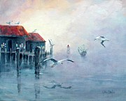 Piers Painting Framed Prints - Foggy Cove Framed Print by Gary Partin