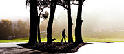 Dog Walking Digital Art Prints - Foggy Day to walk the dog Print by Harry Neelam