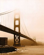 Foggy Golden Gate In Sepia Print by Rhonda Jackson